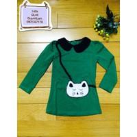 Đầm thun cotton tay dài đeo túi mèo xinh xắn cho bé yêu