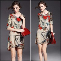 HÀNG NHẬP CAO CẤP--Đầm vải họa tiết 15929