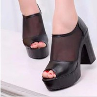 Giày cao gót nữ phối lưới