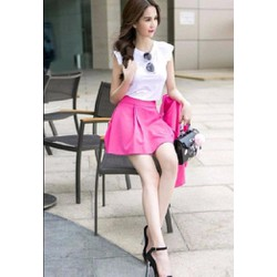 Set Bộ áo trắng chân váy hồng Ngọc Trinh S069