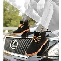 Giày bốt cổ cao da lộn cao cấp Glado - G45