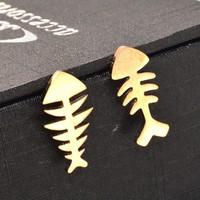 Bông tai Titan Xương Cá - Trang sức Titan