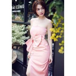 Đầm hồng thắt nơ Ngọc Trinh D259