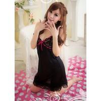 Váy Ngủ Gợi Cảm Phi Bóng Ren Nơ Hồng - MS300