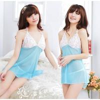 Váy Ngủ Nữ Ren Trắng Xanh - MS269
