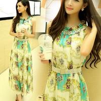 Đầm maxi thất eo hạt chuổi phong cách đẹp lạ màu xanh ngọc nhẹ nhàn