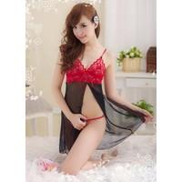 Váy Ngủ Sexy Ren Đỏ Đen Siêu Mỏng - MS263
