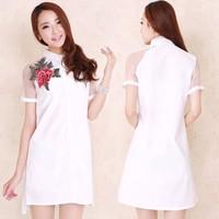 Đầm trắng thêu hoa cao cấp - 1416
