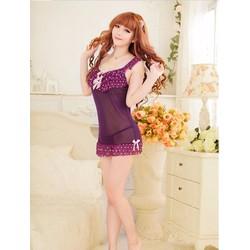 Đầm Ngủ Siêu Mỏng Ren Viền Bi - MS382