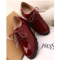 Giày Oxford nữ mũi nhọn, đế thô, da bóng cao 3cm - YG9023