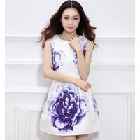 Đầm xòe nữ họa tiết in hoa nổi bật, mẫu thanh lịch, nữ tính-D2977