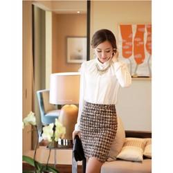 Set áo sơ mi và chân váy ôm công sở phong cách Hàn Quốc