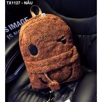 Balô lông hình mặt cười Mã: TX1127 - NÂU