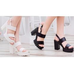 Giày sandals chunky 10 phân 2 quai ngang màu đen