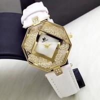 Đồng hồ Nữ Swarovski lục giác D0468-DHA148 - Kim Quay - Trắng