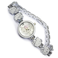 Đồng hồ Nữ lắc tay Kitty jw nơ hoa D0474-DHA149 - Kim Quay - Trắng