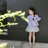 Áo khoác bé gái dài tay, thiết kế thuần màu, kiểu dáng nhẹ nhàng