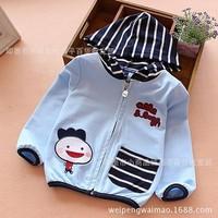 Áo khoác nỉ bé trai dài tay liền mũ, họa tiết ngộ nghĩnh, mẫu Hàn mới