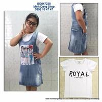 Yếm jean kèm áo thun size đại cho bé từ 25 đến 40kg