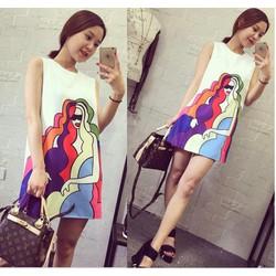 Đầm suông họa tiết cô gái sắc màu duyên dáng hiện đại,thời trang-D2947