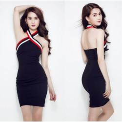 Đầm body cổ yếm chéo sọc 3 màu Ngọc Trinh