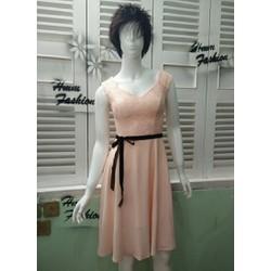 Đầm hồng phối ren cao cấp kèm dây đeo HMM
