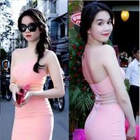 Đầm Hồng Lệch Vai Ngọc Trinh YKVD46