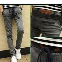 Quần jeans dài lưng thun Mã: ND0377 - XÁM ĐẬM