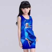 Đầm 3D cho bé đủ size: Elisa Nền Xanh Coban Đậm