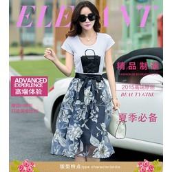 Hàng nhập cao cấp: Set áo hình túi + váy hoa - DV2441