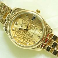 Đồng hồ Rolex nữ sang trọng mạ vàng chống nước