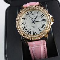 Đồng hồ CAIQI thiết kế tinh tế phong cách dây da mặt tròn đính đá