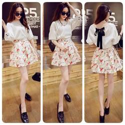 Set áo trắng nơ lưng chân váy hoạ tiết x - Hàng fake CC - 255.000 VNĐ