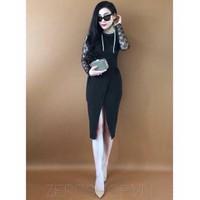 HÀNG THIẾT KẾ - Đầm body tay dài phối ren xẻ tà cao cấp