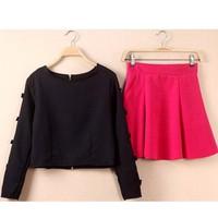 Set croptop đen váy hồng siêu dễ thương