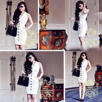 Đầm jean body cổ vest bella