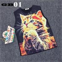 Áo thun  3d ba lỗ Thái Lan mèo dễ thương