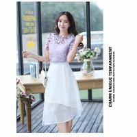 Set áo ren màu tím+ chân váy trắngDMK087