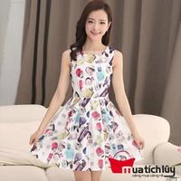 Đầm ren ô vuông sắc màu
