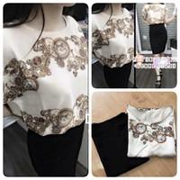 Hàng thiết kế: Set áo lụa hoa văn Versace + Chân váy body from dài