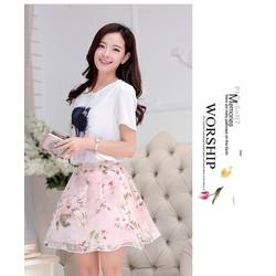 Hàng nhập cao cấp: Set áo họa tiết cô gái + váy hồng - DV2447