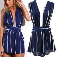 Đầm xanh sọc trắng đan chéo lưng sexy cho các nàng
