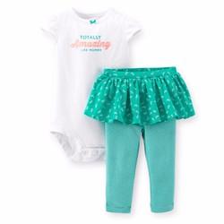 Set bodysuit  va quần váy Carter cho bé gái 3m-18m