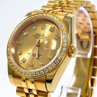đồng hồ Rolex nữ chống nước,chổng rỉ xi vàng Mặt đồng hồ được viền đá