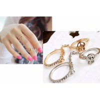 Nhẫn đôi liền nhau còn màu bạc