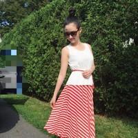 HÀNG ẢNH THẬT-Đầm maxi phối chân váy sọc và áo trắng voan cao cấp