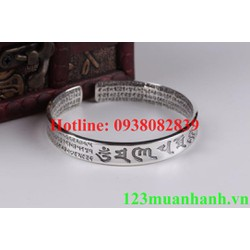 Vòng tay bạc khắc Om ma ni và Đại Bi chú