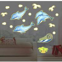 Decal dán tường Cá heo xanh dạ quang