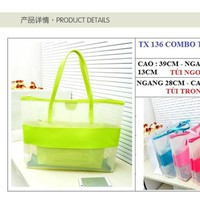 Túi trong suốt  phối hồng neon  2 in 1 - TX 136