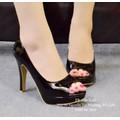 Giày cao gót hở mũi trơn basic đen-GX242